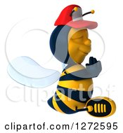 Clipart Of A 3d Bee Wearing A Baseball Cap Facing Right And Meditating Royalty Free Illustration