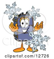 Suitcase Cartoon Character With Three Snowflakes In Winter