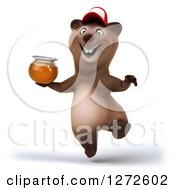 Clipart Of A 3d Brown Bear Wearing A Baseball Cap And Jumping With Honey Royalty Free Illustration