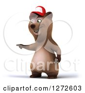 Clipart Of A 3d Brown Bear Wearing A Baseball Cap And Pointing To The Left Royalty Free Illustration