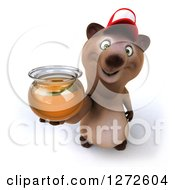 Clipart Of A 3d Brown Bear Wearing A Baseball Cap And Holding Up A Jar Of Honey Royalty Free Illustration