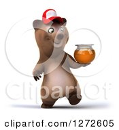 Clipart Of A 3d Brown Bear Wearing A Baseball Cap And Walking With Honey Royalty Free Illustration