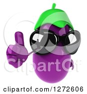 Clipart Of A 3d Aubergine Eggplant Wearing Sunglasses And Giving A Thumb Up Royalty Free Illustration