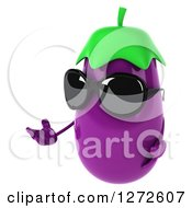Clipart Of A 3d Aubergine Eggplant Wearing Sunglasses And Presenting To The Left Royalty Free Illustration