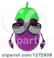 Clipart Of A 3d Aubergine Eggplant Wearing Sunglasses And Pouting Royalty Free Illustration