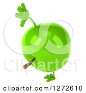 Clipart Of A 3d Green Apple Character Cartwheeling Royalty Free Illustration