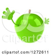 Clipart Of A 3d Green Apple Character Jumping And Facing Slightly Right Royalty Free Illustration