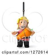 Clipart Of A 3d Casual Blond White Woman Chasing A Carrot On A Stick Royalty Free Illustration