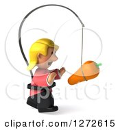 Clipart Of A 3d Casual Blond White Woman Facing Right And Chasing A Carrot On A Stick Royalty Free Illustration