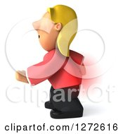Clipart Of A 3d Casual Blond White Woman Facing Left And Grabbing A Painful Spot On Her Back Royalty Free Illustration