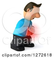 Clipart Of A 3d Casual White Man In A Blue Shirt Expressing Stomach Pain Royalty Free Illustration
