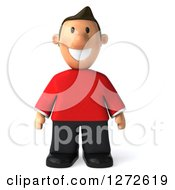 Clipart Of A 3d Casual White Man In A Red Shirt Royalty Free Illustration