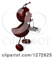 Clipart Of A 3d Ant Character Facing Right And Holding A Laptop Royalty Free Illustration by Julos