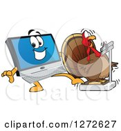Clipart Of A Happy PC Computer Mascot Behind A Shocked Thanksgiving Turkey Bird On A Weight Scale Royalty Free Vector Illustration