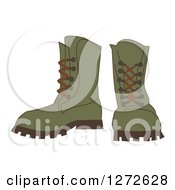 Clipart Of A Pair Of Green Hiking Boots Royalty Free Vector Illustration