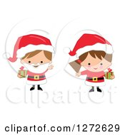 Clipart Of Caucasian Christmas Children Wearing Santa Suits And Holding Gifts Royalty Free Vector Illustration