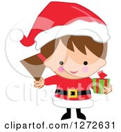 Clipart Of A Caucasian Christmas Girl Wearing A Santa Suit And Holding A Gift Royalty Free Vector Illustration