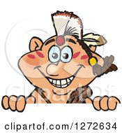 Clipart Of A Happy Native American Indian Man Peeking Over A Sign Royalty Free Vector Illustration