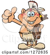 Clipart Of A Happy Native American Indian Man Giving A Thumb Up Royalty Free Vector Illustration