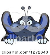 Clipart Of A Happy Blue Butterfly Peeking Over A Sign Royalty Free Vector Illustration