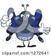 Clipart Of A Happy Blue Butterfly Giving A Thumb Up Royalty Free Vector Illustration