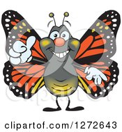 Clipart Of A Happy Monarch Butterfly Giving A Thumb Up Royalty Free Vector Illustration