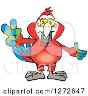 Clipart Of A Happy Scarlet Macaw Parrot Gesturing Peace Royalty Free Vector Illustration by Dennis Holmes Designs