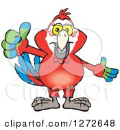 Clipart Of A Happy Scarlet Macaw Parrot Giving A Thumb Up Royalty Free Vector Illustration by Dennis Holmes Designs