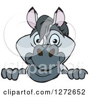 Clipart Of A Happy Gray Horse Peeking Over A Sign Royalty Free Vector Illustration