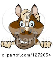 Clipart Of A Happy Brown Horse Peeking Over A Sign Royalty Free Vector Illustration
