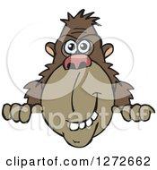 Clipart Of A Happy Ape Peeking Over A Sign Royalty Free Vector Illustration by Dennis Holmes Designs