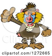 Clipart Of A Happy Baboon Giving A Thumb Up Royalty Free Vector Illustration
