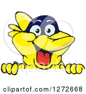 Clipart Of A Happy Yellow Marine Fish Peeking Over A Sign Royalty Free Vector Illustration by Dennis Holmes Designs