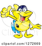Clipart Of A Happy Yellow Marine Fish Giving A Thumb Up Royalty Free Vector Illustration by Dennis Holmes Designs