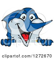 Clipart Of A Happy Marlin Fish Peeking Over A Sign Royalty Free Vector Illustration