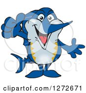 Clipart Of A Happy Marlin Fish Giving A Thumb Up Royalty Free Vector Illustration by Dennis Holmes Designs