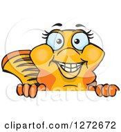 Clipart Of A Happy Fancy Goldfish Peeking Over A Sign Royalty Free Vector Illustration by Dennis Holmes Designs