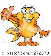 Clipart Of A Happy Fancy Goldfish Giving A Thumb Up Royalty Free Vector Illustration by Dennis Holmes Designs