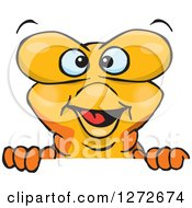 Clipart Of A Happy Goldfish Peeking Over A Sign Royalty Free Vector Illustration by Dennis Holmes Designs