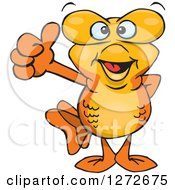 Clipart Of A Happy Goldfish Giving A Thumb Up Royalty Free Vector Illustration by Dennis Holmes Designs