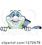 Clipart Of A Happy Guppy Fish Peeking Over A Sign Royalty Free Vector Illustration by Dennis Holmes Designs