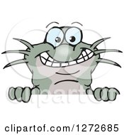 Clipart Of A Happy Catfish Peeking Over A Sign Royalty Free Vector Illustration by Dennis Holmes Designs