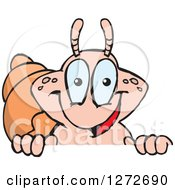 Clipart Of A Happy Hermit Crab Peeking Over A Sign Royalty Free Vector Illustration
