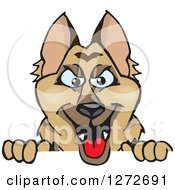 Clipart Of A German Shepherd Dog Peeking Over A Sign Royalty Free Vector Illustration by Dennis Holmes Designs