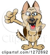 Clipart Of A German Shepherd Dog Giving A Thumb Up Royalty Free Vector Illustration