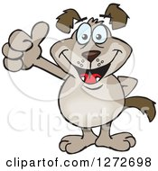 Clipart Of A Happy Brown Dog Giving A Thumb Up Royalty Free Vector Illustration