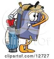 Suitcase Cartoon Character Swinging His Golf Club While Golfing