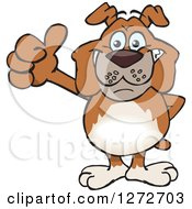 Clipart Of A Happy Brown Bulldog Giving A Thumb Up Royalty Free Vector Illustration by Dennis Holmes Designs