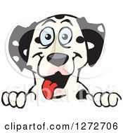 Clipart Of A Happy Dalmatian Dog Peeking Over A Sign Royalty Free Vector Illustration by Dennis Holmes Designs