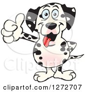 Clipart Of A Happy Dalmatian Dog Giving A Thumb Up Royalty Free Vector Illustration by Dennis Holmes Designs